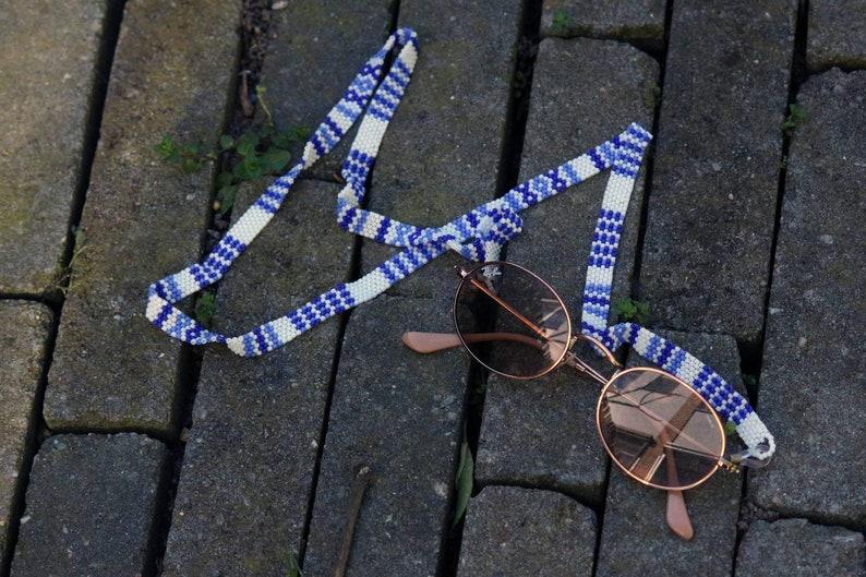 Beaded glasses strap - Blue Skies
