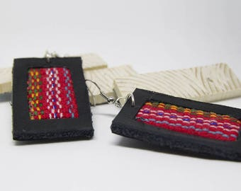 Leather earring and Peruvian fabric