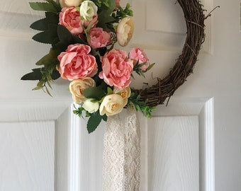 Pink peony wreath witb lace ribbon, new house gift, gift