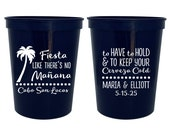 personalized wedding favor cups custom 16oz plastic cups cerveza party cup fiesta like there 39 s no manana destination wedding mexico