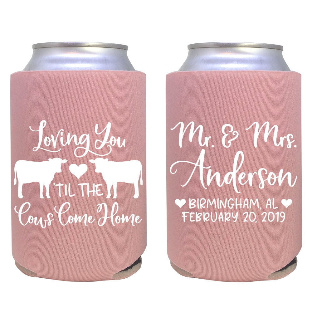 personalized can cooler / farmhouse wedding favor / barn | Etsy