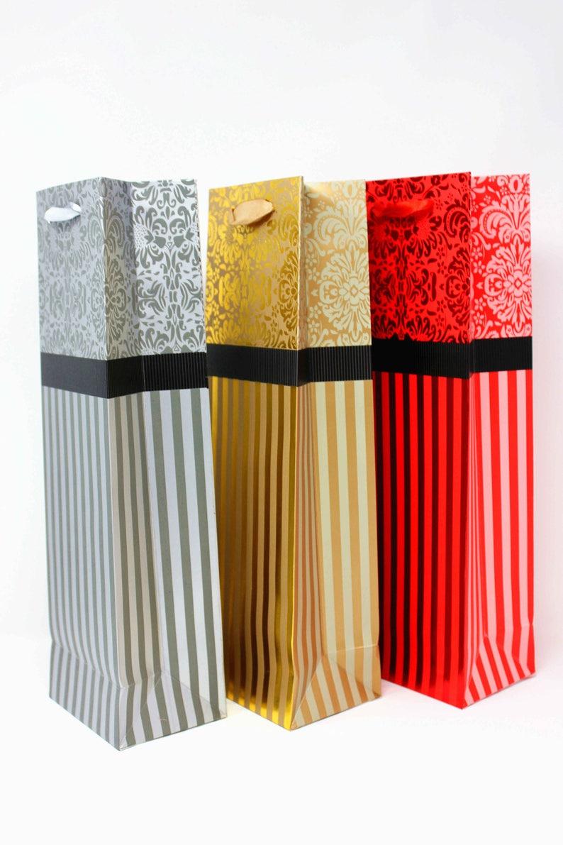 12 Artisen Gilded Flower Paper Wine Bags 4.7\u00d73.5\u00d715.3 inches
