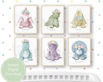 Floral Nursery Dinosaur Set, Girl Prints, Girls Room Wall Art, Girls Room, Girl Nursery, Baby Dinosaur Prints, Baby Girl Nursery,Nursery Art