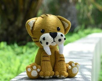 Saber-toothed tiger crochet - Smilodon Tiger Amigurumi - Tiger Stuffed Animal Handmade Toy