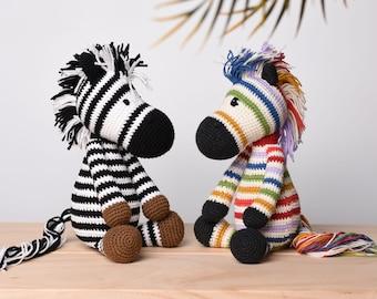Rainbow Zebra, Muticolor Zebra Crochet Handmade, Stuffed Zebra , Zebra Soft Toy For Kids, Baby Shower Gift