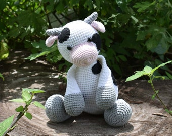 Milk Cow Crochet Plushie Stuffed Toy - Crochet Animal - Happy Farm   Custom Color