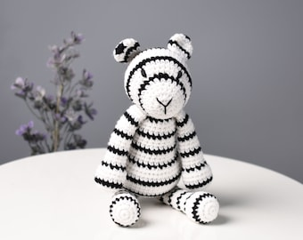 White Tiger Plush Stuffed Animal Crochet Toy - Amigurumi White Tiger - Bleached Tiger Toy - Boy Gift - Year of the Tiger Gift