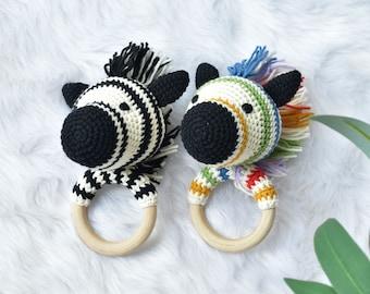 Rainbow & Black Zebra Crochet Rattle - Natural Wooden Teether - Baby Teether Gift