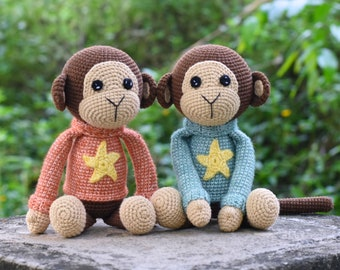 Naughty Monkey Amigurumi Stuffed Crochet - Monkeys Plush Toy -  Lovely Monkey Crochet Animal - Best Gift For Friend - Finished Crochet