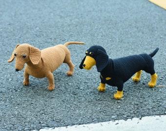 Cute Dachshund Stuffed Crochet Amigurumi - Wiener Dog, Badger Dog, Sausage Dog - Finished Toy - Best Dachshund Dog For Him