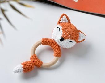 Cute Fox Rattle Crochet Amigurumi Gift - Crochet Fox Teething Ring - Natural Wooden Teething Ring - Baby Shower Gift