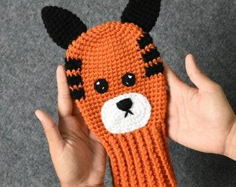 Tiger Head Golf Club Cover Crochet Handmade - Hobbes Golf Headcover