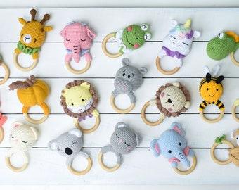 Animal Crochet Teething Ring, Amigurumi Baby Rattle & Teether, Crochet Baby Rattle, Baby Toy Ring,  Newborn Gift,  Baby Shower Gift