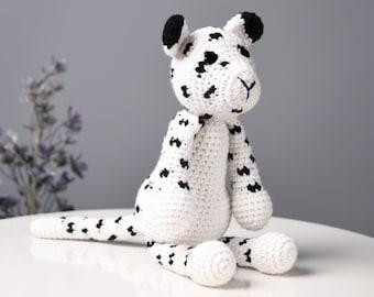 Snow Leopard Crochet Stuffed Animal Plush Toy, Amigurumi Panthera Uncia Toy, Boy Gift, Baby Shower Gift, Handmade Animal Toy