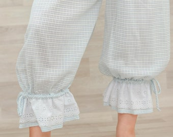 Ice blue Vintage cotton voile panty bloomers you romantic shabby Bohemian style