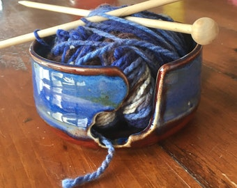 Large pottery  yarn bowl. Wool bowl. Ceramic yarn bowl. Knitting bowl. Blue yarn bowl. Knit. Crochet. Unique gift.