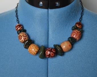 Wood Bead and Stone Necklace