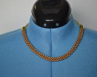Gold Tube Style Beaded Necklace
