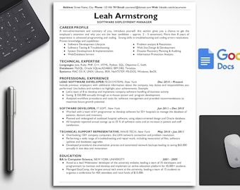 Simple Resume Template IT Google Docs Technical Easy Manager CV Cover Letter