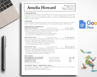 Simple Resume Template Google Docs Professional One Page Etsy