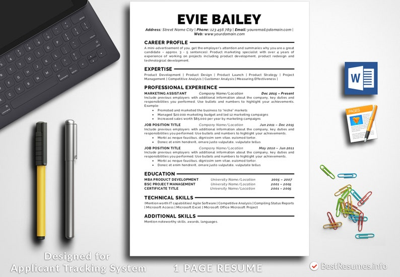 Resume Template Professional Instant Download