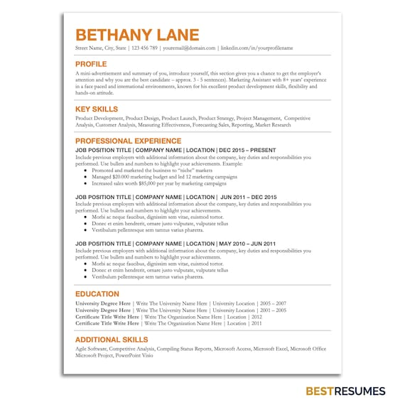 Student Resume Template Editable Resume Template College Etsy