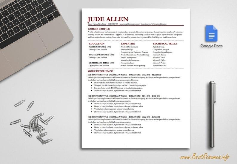 Simple Resume Template Google Docs Modern Resume Template Professional  Resume Template One Page Resume Template Instant Download CV Template