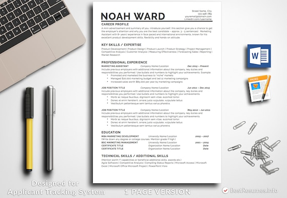 Resume Template Professional Resume Template Instant Download Etsy