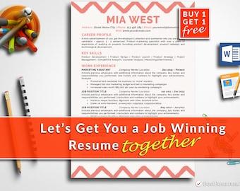 Creative Resume Template Professional Resume Template Instant Download Modern Resume Template CV Template CV Design Resume Template Word&Mac