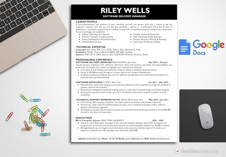 Simple Resume Template IT Resume Template Google Docs Technical Resume  Template Easy Resume Template Manager Resume CV Cover Letter