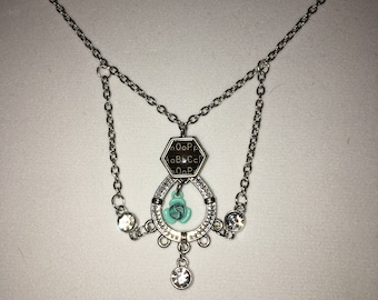 Chandelier pendant with turquoise flower