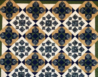 Quilts for Sale / Grand Illusion - Getting to the Point / Handmade Quilt / King-Sized Quilt / Queen-sized Quilt