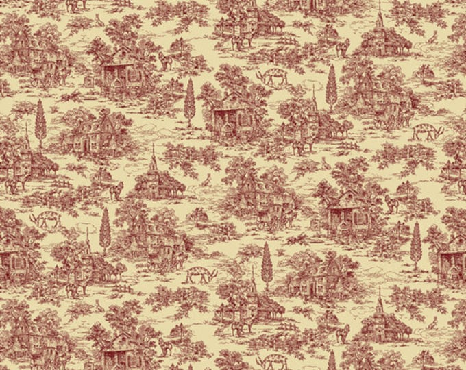 """Featured listing image: 108"""" Wide Red Toile on Cream - Farmhouse Christmas by Kim Diehl"""