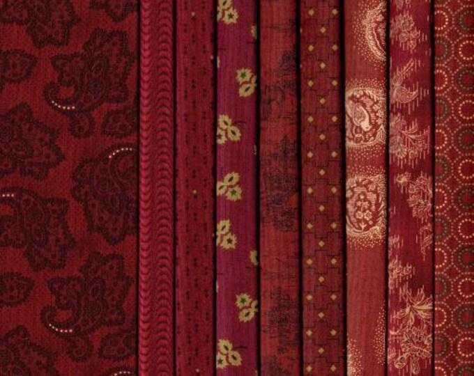 "Featured listing image: Farmhouse Christmas - 9 piece Fat Quarter Bundle Red  - Kim Diehl 44"""