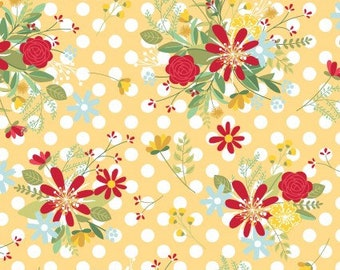 KimberBell Red, White, and Bloom - Yellow Polka Dot Flower