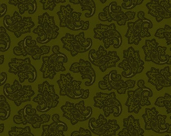 "Farmhouse Christmas - Green Delicate Paisley - Kim Diehl 44"""
