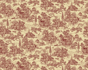 """108"""" Wide Red Toile on Cream - Farmhouse Christmas by Kim Diehl"""