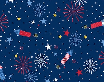 KimberBell Red, White, and Bloom - Navy Fireworks