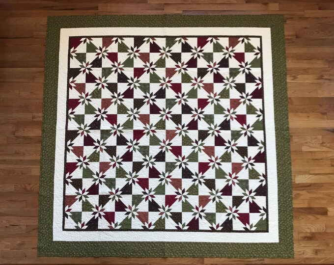 """Featured listing image: 102"""" x 102"""" Hunter Star Quilt - Large Queen or King - Shams and Throw covers included"""