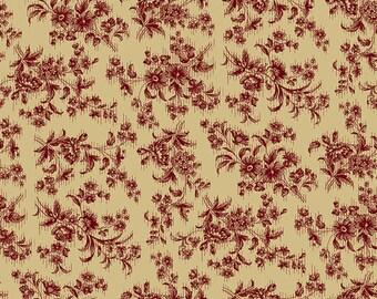 "Farmhouse Christmas - Beige White Delicate Floral - Kim Diehl 44"""