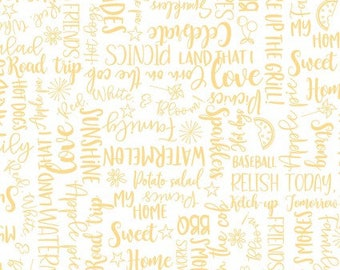 KimberBell Red, White, and Bloom - Yellow Wordy Words