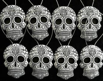 halloween tree decorations day of the dead sugar skull gothic christmas ornaments black and white hanging alternative devor set of 8 - Gothic Christmas Decorations