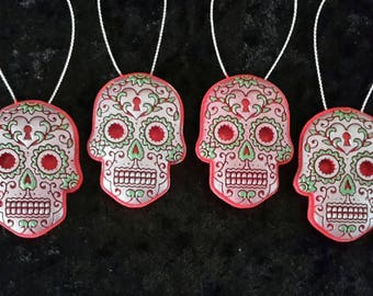 set of 4 silver and red hanging sugar skull ornaments day of the dead christmas tree decorations bauble alternative - Christmas Sugar Skull