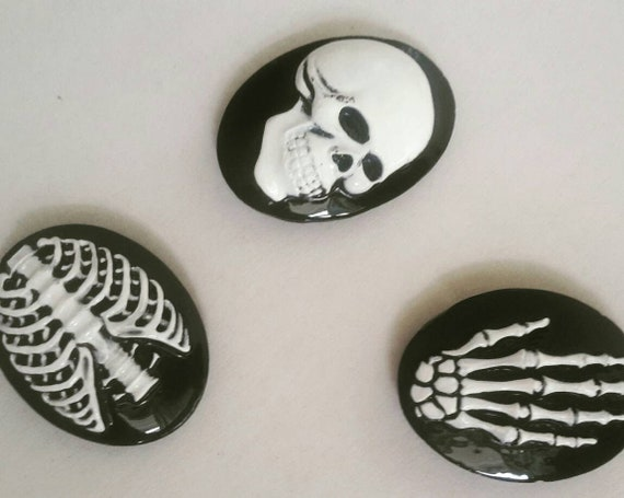 3 Gothic fridge magnets (skull, ribcage and skeleton hand designs) black  and white  Small but strong, kitchen decor, goth home