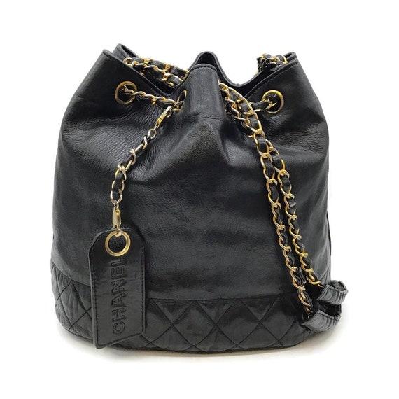 Chanel Drawstring Bucket Vintage Black Leather Sho