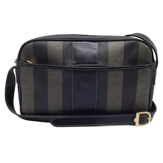 Fendi Vintage Logo Black and Tan Shoulder Bag