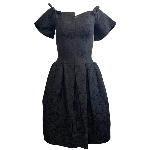 I. Magnin Black Vintage Damask Cocktail Dress