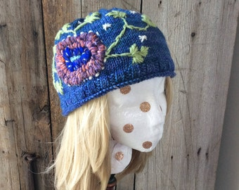 Embroidered Flower Winter Woman's Hat