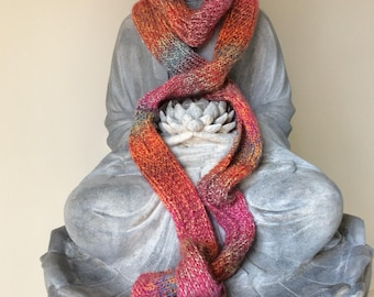 Pink and Orange Variegated Scarf