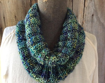Greens and Blues Merino Wool Ribbed Cowl
